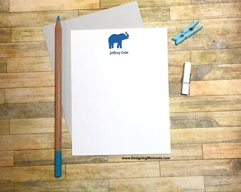 Elephant Stationery -Custom Personalized Note Cards - Baby Shower Thank You Card Set - Stationary Flat Cards - Note Cards DM100