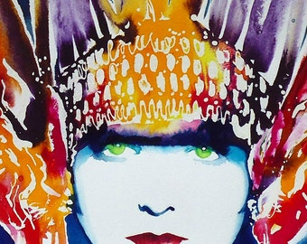 Art Deco Metropolis Art Print of Original Painting 1920s Flapper Feathers Headdress Fashion Early Cinema salon decor, Hair Salon Art