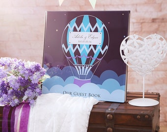 Unqiue Wedding Guest Book, Hot Air Balloon Wedding Guest Book , Custom Wedding Guest Book - Crystal Acrylic Guestbook - GB#07