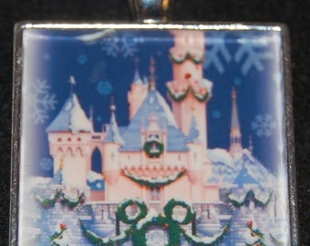 Disney World Disneyland Christmas Xmas Cinderella sleeping Beauty Princess Castle Square Silver Pendant Necklace WDW