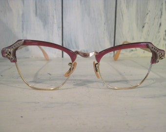 Vintage 12K GF gold filled Bausch & Lomb horn-rimmed cateye red rose color womens eyeglasses frames, mid century retro ladies glasses gifts