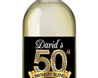 50th Birthday Wine Labels • Personalized Birthday Wine Label