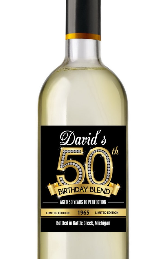 50th Birthday Wine Labels Personalized Birthday Wine Label