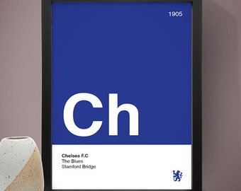 Chelsea Football Club Poster, Football Poster, A4 Football Print, Football Gift, Blue & White