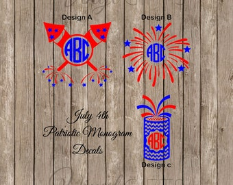 Fourth of July Fireworks Monogram Decal