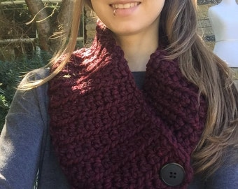 Claret Button Scarf