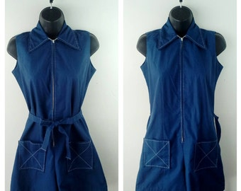 A MUST HAVE! Vintage Navy 60s 70s Romper Rockabilly Pinup Girl Jumpsuit One Piece Playsuit SUB54