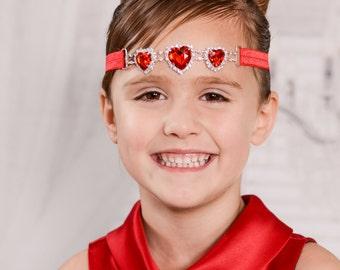 Red Rhinestone Headband, Heart Headband, Red Heart Headband, Rhinestone Headband, Connector Headband, Valentines Day Headband, Red Headband