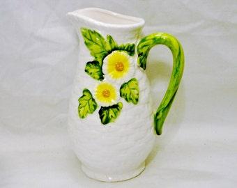 Lefton Rustic Daisy Ceramic Pitcher 18 Oz (532.32ml) Basket Weave Pattern Flower Design No. 4126 Geo Z Lefton