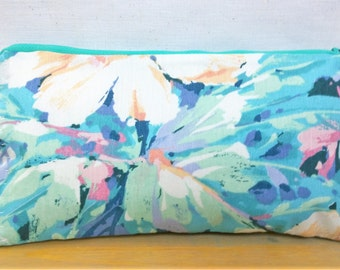 Watercolor Handbag / Cosmetic Bag / Zipper Pouch - Upcycled Floral Denim