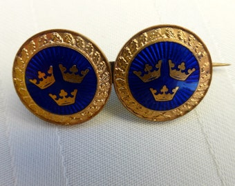 Vintage Gold & Blue Enamel  Three Crown  Brooch