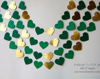Valentines Day decor, Valentine garland, Gold green heart garland, Heart garland, Wedding decor, Wedding garland, Bridal shower, KMCO-3502