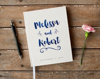 Wedding Guest Book Wedding Guestbook Custom Guest Book Personalized Customized custom design wedding gift keepsake watercolor navy blue new