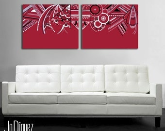 """Original abstract painting. 16x42"""". Red painting. Large painting. 2 piece canvas art. Modern wall art. Geometric art. Dorm decor canvas"""