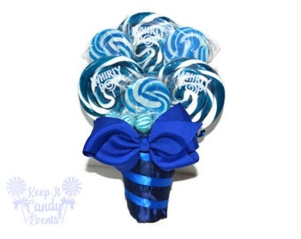 Royal Blue Lollipop Bouquet, Navy Candy Bouquet, Navy Wedding, Royal Blue Wedding, Blue Flower Bouquet, Alternative Bouquet Ideas, Navy Blue