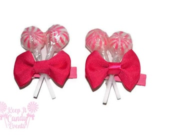 Pink Lollipop Hair Clips, Candy Hair Clip, Lollipop, Candy, Wedding, Flower girl Accessory, Bridesmaid, Bride, Lollipop Wedding