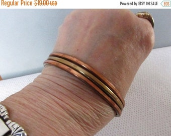 Vintage Copper Brass Cuff Bracelet, Hammered, Collectible Jewelry