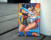 Wonder Woman and Power Girl Comic Book Light Switch Cover - Made from Authentic DC Comic Book Page - Man Cave, Comic Book Fan, Superhero Fan