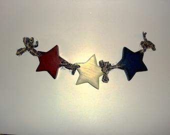 Primitive star Garland, Americana star garland, Wood Star Garland,Americana Decor