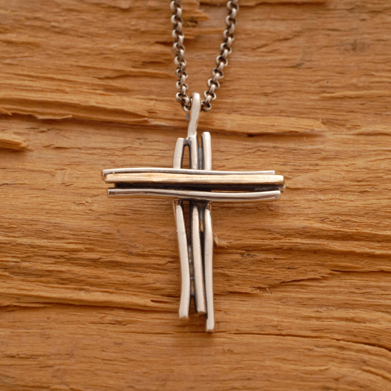Silver and Gold Cross Νecklace for Men or Women Unique