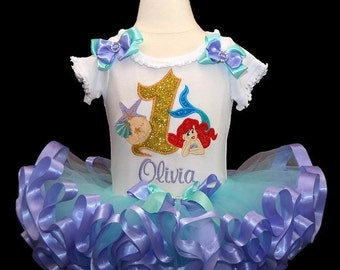 little mermaid birthday outfit, personalized 1st birthday girl outfit, Ariel shirt, first birthday outfit girl, cake smash outfit girl tutu