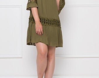 Half Sleeves Khaki Viscose Dress.
