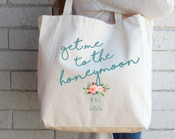 Gift for Bride-to-Be Custom Tote Bag - Honeymoon Beach Bag - Bride Beach Bag - Personalized Tote Bridal Shower Cotton Canvas Reusable Tote