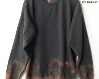 Gray Crewneck Sweatshirt, Ombre sweatshirt, Boho Chic, bronze, Jumper, ombre, dip dye, acid wash, tie dye, Rocker, Grunge