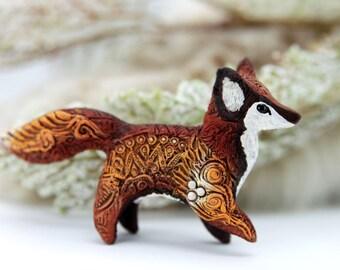 Autumn Fennec Fox Totem Figurine Sculpture, Animal magic spirit amulet