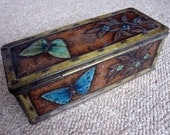 "Jacob's biscuit tin ""Bronze Butterfly"" 1938/9 – metal chest with rivets design with embossed green and blue butterflies and flowers"