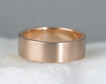 6mm 14K Rose Gold Wedding Band – Men's or Ladies Wedding Rings – Matte Finish – Pink Gold – Commitment Rings – Classic Flat Gold Bands