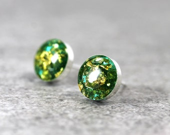 Teal Stud Earrings with 22K Gold Flakes