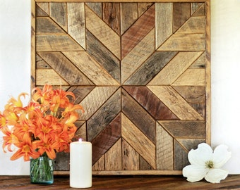 Reclaimed wood quilt square – 25.5 inches - Geometric wall art – Star pattern wall décor – Barnwood quilts – Country home