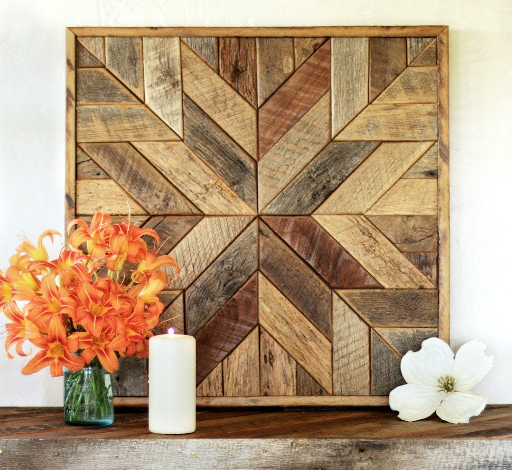 Reclaimed wood quilt square 25.5 inches Geometric wall art