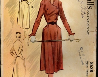 1950s Size 18 Bust 36 Tailored Dress McCalls 8638 Vintage Sewing Pattern 50s Double Breasted