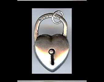 LARGE 3D vintage sterling silver puffy HEART with lock charm