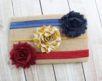 On Sale! Fall Headbands, Baby Headband Set, Navy, Maroon, Yellow Headbands, Thanksgiving Headband, Baby Fall Headband