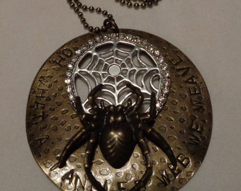 Tangled Web Spider Necklace. Stamped Necklace.