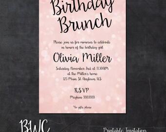 Birthday Brunch Printable Invitation Bokeh Invite Digital File