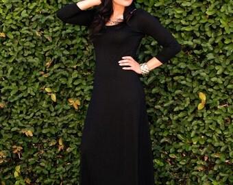 Plus Size Dress - Long Black Dress - Loose Winter Dress - Ladies Dress - Scoop Neck Maxi Dress - 3/4 Sleeves - Petite and Tall Dresses