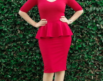 Peplum Dress - Knee Length Dress - Plus Size - All Sizes - Sweetheart Neck Cocktail Dress - Half Sleeve Formal Dress - Petite Tall Dress