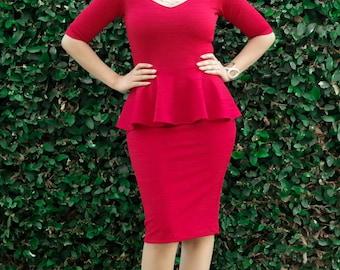 Peplum Dress - Knee Length Dress - Plus Size - All Sizes - Sweetheart Neck Cocktail Dress - Half Sleeve Formal Dress - Petite Tall Dress