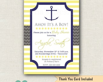 Yellow Nautical Baby Shower Invitation - Boy Baby Shower - Anchor Invitation - Navy and Yellow Baby Shower - Ahoy its a Boy