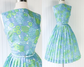 vintage 1960s blue & green pop art floral dress / full pleated skirt / abstract neon / pinup sleeveles sundress / size L
