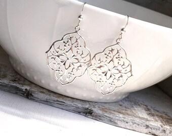 Silver Filigree Earrings, Silver Bohemian Earrings, Moroccan Style Earrings, Sterling Silver Earwires, Everyday Earrings, Dangle Earrings