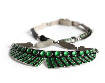 Vintage Margot de Taxco Sterling Silver Enamel Collar Necklace - Green & Black Modern Mexican Bib Jewelry