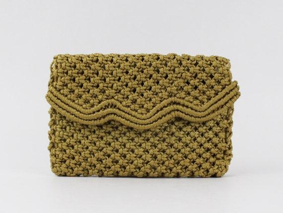 Macrame Clutch - Bohemian Handbag - Vintage 1970s Woven Macrame Clutch