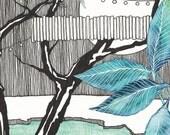 Postcard Moonlight Party, Illustrated Postcard, Aquarel, Pen, Pencil and Marker