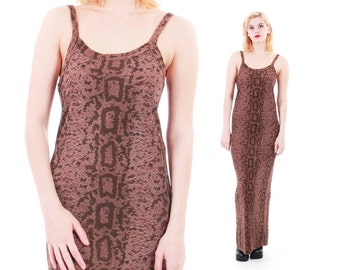 90s Vintage Snake Skin Print Maxi Dress Long Strapless High Slit Grunge Goth Summer Dress Womens Size Small