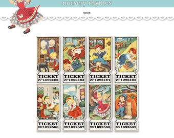 Printable nursery rhyme tickets /  Mother Goose digital collage sheet / nursery rhymes / printable gift tags / scrapbook embellishments
